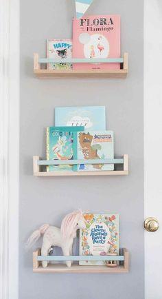 Ikea BEKVAM spice rack as book shelf with painted bar Ellie James' Nursery Liapela.com