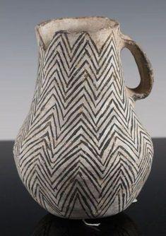 "artpropelled: ""  Rare Anasazi Gallup black and white pitcher """