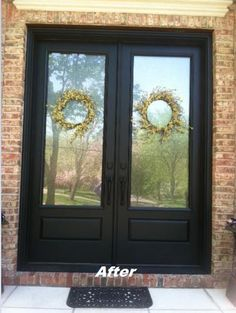 A NJ homeowner recently replaced their old, faded wood doors with new fiberglass, maintenance-free doors! Black Millwork Co. updated their home's front entryway with pre-finished black Therma-Tru Doors from the Classic Craft Canvas Collection, along with decorative Rain Glass and attractive EMTEK - ASSA ABLOY flat black handlesets. We also provided this homeowner with the professional installation. Check out the front of their home before and after its transformation above…
