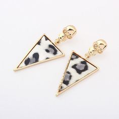 Europe and America Leopard Triangle Exaggerated Personality Skull Earrings - C models