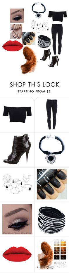 """all black everything with some red"" by elvira-marie-hernandez on Polyvore featuring American Apparel, Paige Denim, Givenchy, Rock 'N Rose, women's clothing, women, female, woman, misses and juniors"