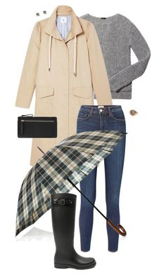 """""""Puddle Jumper: Rainy Day Outfit"""" by coolchick1630 ❤ liked on Polyvore featuring ATM by Anthony Thomas Melillo, L'Agence, Barbour, Yves Saint Laurent, Wet Seal, Accessorize and rainydayoutfit"""