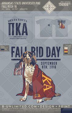 Arkansas State University Pike Fall Rush 16 #BUnlimited #BUonYOU #CustomGreekApparel #GreekTShirts #Fraternity #Sorority #GreekLife #TShirts #Tanks #TShirtIdeas #FallBidDay #Dog #Flag #Pike #PiKappaAlpha #Rush #PikeFlag #USA #America #Pointer #BidDay #PR