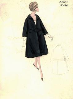 Figurini di moda vintage dall'archivio del Bergdorf Goodman Store di New York abito di Lanvin