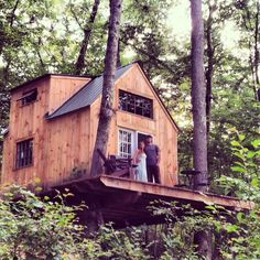 """""""We built this tree house together in six weeks for under $4000. Reclaimed oak wood cutoffs make up the floor, and all windows and doors were salvaged. Inside is complete with a sleeping loft and..."""