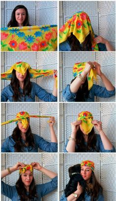 Tie One On: 14 Ways to Wear a Headscarf Bad hair day — what's that? Make hair scarves your fuss-free hair day -- what& that? Make hair scarves your fuss-free summer accessory Hair Wrap Scarf, Hair Scarf Styles, Curly Hair Styles, Natural Hair Styles, Bandana Styles, Bad Hair Day, Mode Turban, Hair Accessories For Women, Bow Accessories