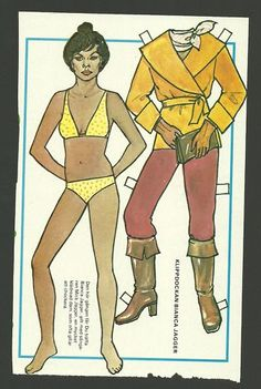 Bianca Jagger The Rolling Stones 70s Swedish Paper Doll   eBay