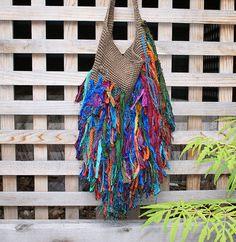 Colorful Sari Silk Upcycled Bag Purse Funky Purse Hip Bag Shag Bag5 6