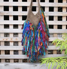 Colorful Sari Silk Upcycled Bag Purse Funky Purse Hip Bag Shag Bag5 6