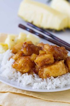 Make it a Make-Your-Own-Take-Out night with this sweet and savory Pineapple Chicken. Crispy chicken is cooked in a sweet pineapple sauce. Serve over rice for a dinner that is sure to be a hit! #recipe #pineapplechicken #chicken #makeyourowntakeout #chinesefood Healthy Chicken Recipes, Cooking Recipes, Asian Recipes, Chinese Recipes, Chinese Food, Chinese Chicken, Asian Foods, Healthy Dinners, Turkey Recipes