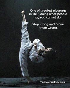 Prove them wrong! In taekwondo, there was no such thing as being an embarrassmen… Prove them wrong! In taekwondo, there Martial Arts Quotes, Martial Arts Women, Mixed Martial Arts, Taekwondo Quotes, Karate Quotes, Judo, Ju Jitsu, Karate Girl, Hapkido