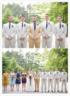 Love the groom in a completely different suit! AND love the multi-colored bridesmaids!