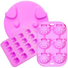 #Piggy #Baking #Mold (Set Of 3) - make homemade  chocolates, muffins, icecubes, finger jello and cakes in the form of edible oinkers!  Kids will love these - great barnyard party food idea! Durable, dense-yet-flexible, temperature-resistant silicone.