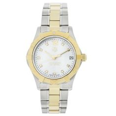 TAG Heuer Women's WAF1320.BB0820 Aquaracer Two-Tone Diamond Watch TAG Heuer. $2280.00. Water-resistant to 984 feet (300 M). Mother of pearl dial with 10 diamond markers. Brushed and polished stainless steel and goldtone case and bracelet. Swiss Quartz movement. Date at the 3 o'clock position