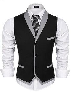 Amazon.com: Coofandy Men's V-neck Sleeveless Slim Fit Vest,Jacket Business Suit Dress Vest,Black,Small