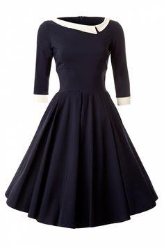 Navy Mad Men Vintage Swing Dress