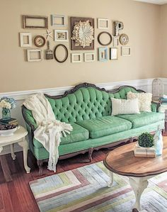 Shades of Blues Interiors - green painted sofa