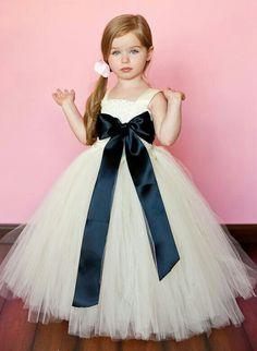 f2089572a866 Flower Girl Tutu Dress in Classic Ivory with Black.not sure about the color  but love the tutu! Abiti Da ...