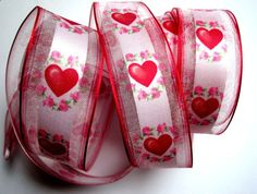 Sheer Wired Romantic Heart Ribbon Muti 1 1/2 by PrimroseLaceRibbon, $3.75