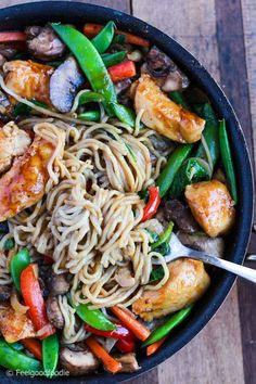 A Take On The Favorite Chinese Take-Out Dish, This Easy Chicken And Vegetable Lo Mein Has All The Flavor But Half The Calories Of The Restaurant Version Chinese Recipes Healthy Take Out Chinese Take Out Meals Chinese Vegetables, Mixed Vegetables, Chicken And Vegetables, Healthy Chinese Recipes, Healthy Recipes, Healthy Food, Healthy Meals, Quick Recipes, Healthy Chicken