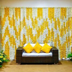 Floral artistry with Garlands by Events and décor. Wedding Backdrop Design, Desi Wedding Decor, Wedding Hall Decorations, Flower Decorations, Wedding Mandap, Wedding Ideas, Wedding Receptions, Mehendi Decor Ideas, Mehndi Decor