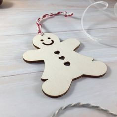 Wooden Gingerbread Lady Christmas Tree Ornament / Decoration by Jellypress on Etsy