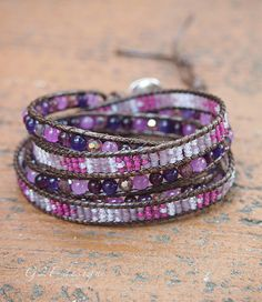 Purple mix Wrap bracelet on brown cord Seed beaded by G2Fdesign
