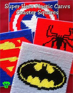 Super Hero Coaster Plastic Canvas Pattern. maybe make a box out of it to hold supplies.