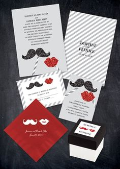 mustache and lips wedding invites! #invitations #weddinginvitations #mustache