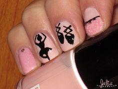 Nail art inspirado en el ballet. Colores pastel. Rosa