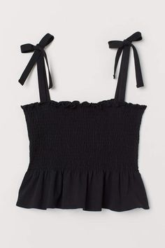 black tie shoulder camisole - - Camisole top in cotton jersey. Smocking at top and narrow, tie-top shoulder straps. Teen Fashion Outfits, Look Fashion, Outfits For Teens, Korean Fashion, Girl Outfits, Fashion Tips, Paris Fashion, 2000s Fashion, Classy Fashion