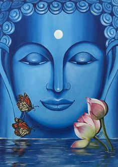 Indian Art Paintings, Modern Art Paintings, Hanging Paintings, Budha Painting, Buddha Artwork, Buddha Drawing, Buddha Canvas, Cool Art Drawings, Mandala Art