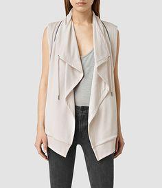Womens Fera Sleeveless Sweatshirt (Windchime Grey) - ALLSAINTS