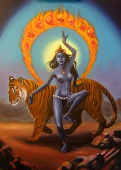 Durga kali - power of Mother Earth connected to all of her creation Kali Goddess, Mother Goddess, Goddess Art, Green Goddess, Indian Gods, Indian Art, Little Buddha, Divine Mother, Mother Kali