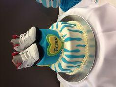 Baby shower cake I made for my future nephew! Blue zebra with air Jordan's! Woo! www.facebook.com/thecupcakers