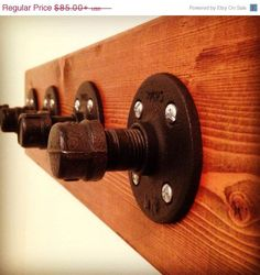 ON SALE Four Hook Industrial Coat Rack - Solid Wood and Iron Pipe on Etsy, $68.00