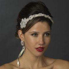 Crystal Rhinestone Bridal Satin Ribbon Style Headband Tiara - White or Ivory 916