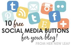 Free social media icons in 7 different colors, including Pinterest and Instagram! via Her New Leaf