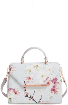 TED BAKER Small Cherry Blossom Faux Leather Satchel. #tedbaker #bags #leather #hand bags #satchel #