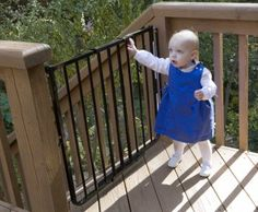 Stairway Special Baby Gate for Outdoors Colors: Black The Stairway Special Gate for Outdoors is a maximum baby safety gate for outdoor locations such as a Safety Gates For Stairs, Baby Gate For Stairs, Child Safety Gates, Porch Gate, Deck Gate, Home Safety, Baby Safety, Best Baby Gates, Outdoor Baby
