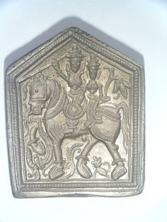 Vintage Brass Stamp Die Mold Jewellery Tool Metal Smith God Goddess India #815