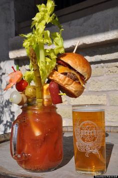Fully-Loaded, Cheeseburger-Bloody Mary (the ultimate hangover cure, from Sobelman's Pub & Grill in Milwaukee, Wis.)