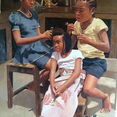 "Oh what a ""graceful finished piece of art"" from the Yabatech graduate by the name Oresegun Olumide. Oresegun Olumide is one world class realistic painter to Black Art Painting, Black Artwork, My Black Is Beautiful, Black Love, Beautiful Artwork, Beautiful Pictures, Afrique Art, Hyper Realistic Paintings, New Africa"