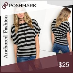 Grey and Black Top 85%Polyester, 15% Elastane Tops Blouses