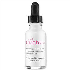 PHILOSOPHY TOTAL MATTENESS PORE ERASER: One drop is all you need to keep shine at bay and reduce the appearance of enlarged pores ($40; philosophy.com).