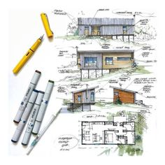 Interesting Find A Career In Architecture Ideas. Admirable Find A Career In Architecture Ideas. Interior Architecture Drawing, Architecture Drawing Sketchbooks, Architecture Concept Drawings, Watercolor Architecture, Art And Architecture, Sketches Arquitectura, Architecture Presentation Board, Plan Sketch, Elevation Drawing