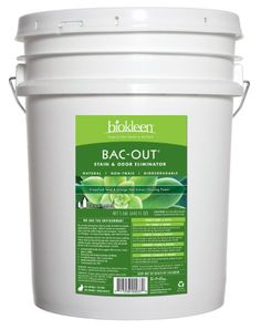 """Biokleen Bac Out Stain and Odor 5 Gal Pail """"This biodegradable enzymatic cleaner doesn't just mask, it actually eats stains and odors. It's natural and scent free, good for removing smells due to mold and mildew, pets, food, tubs and tile, clogged drains, and garbage disposals. """" - Apartment Therapy"""