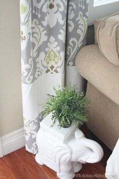 Living Room Update: Semi-Custom Drapes - A Thoughtful Place Lengthen Curtains, Short Curtains, How To Make Curtains, Hanging Curtains, Drapes Curtains, Bedroom Curtains, Bedroom Windows, White Curtains, Valances