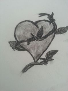 A wired heart done with Charcoalpencil