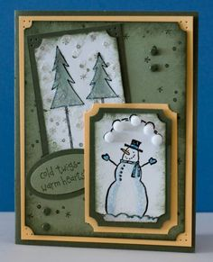 winter chill by ycnan - Cards and Paper Crafts at Splitcoaststampers Christmas Snowman, Christmas Cards, Winter Cards, Punch Art, Pom Poms, Snowmen, Stampin Up Cards, Stamping, Card Ideas